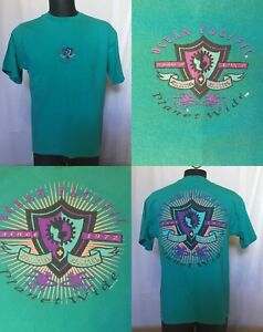 Vintage 1992 Ocean Pacific Planet Wide Puffy Print Skate Surf Shirt Large