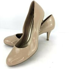 Comfort Plus Predictions Size 11 Beige Patent Pumps Slim Heels Slip On Shoes