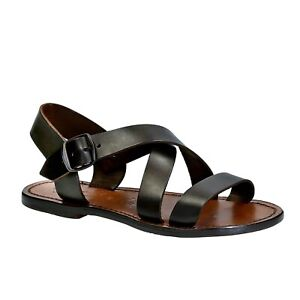 Dark brown leather flat ankle strap sandals shoes for women Handmade in Italy