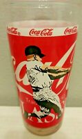 """VINTAGE MICKEY MANTLE COCA-COLA CLASSIC GLASS YANKEES USA 6"""" TALL"""
