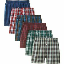 3-12 pack Men's Checker Plaid Shorts Assorted Cotton Boxers Trunks Underwear