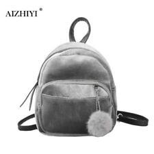 Teen Girls Small Suede Backpack Women Shoulder Bag Velvet Mini Bag