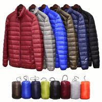 Packable Men's Duck Down Jacket Ultralight Stand Collar Outerwear Coat Puffer