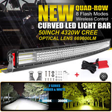 10D Quad-Row 4320W 50inch CURVED LED Light Bar Flood Spot Car Driving VS 52inch