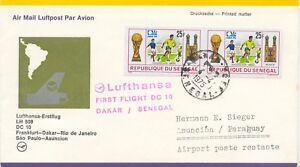 """SENEGAL 1975 first Lufthansa-flight Flight LH 508 with DC 10 """"DAKAR - ASUNCION"""""""