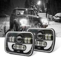 "7x6"" 5X7"" LED Projector Headlight Hi-Lo Beam Halo DRL For Jeep Cherokee Wrangler"