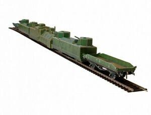Railway Train Armored Train USSR HO Scale 1/87 Model Kit  Set CARDBOARD New Gift