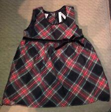 Oshkosh Toddler Girl 2T DRESS Red plaid bow Valentine HOLIDAY Velvet green black
