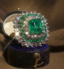 Chic Women 925 Silver Natural Emerald Gemstone Wedding Engagement Ring Size 6-10