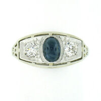 Antique Art Deco 18k Gold & Platinum Sapphire Diamond 3 Stone Filigree Band Ring