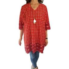 OLD NAVY XL red white purple batik print cotton kurta caftan tunic top slit side
