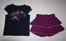 New Gymboree Navy Elephant Tee Top Swing Ruffle Skort Skirt Set 2T Spice Market
