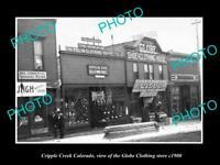 OLD POSTCARD SIZE PHOTO CRIPPLE CREEK COLORADO, THE GLOBE CLOTHES STORE c1900