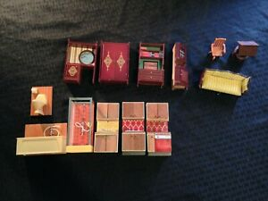 Vintage Lot of 1970s LUNDBY Dollhouse Furniture 13 Pieces Total 11 are Lundby