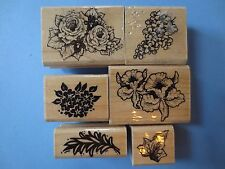 stampendous lot 6 flowers floral wood mtd rubber stamps - retired