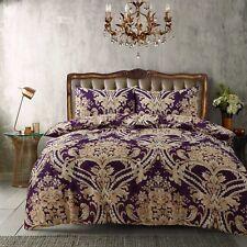 Royal Damask Mustard Purple Duvet Quilt Cover Bedding Set Single Double King