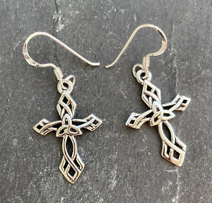keltische Kreuz Ohrringe 925 Sterling Silber Celtic Ohrhänger auch mit Brisuren