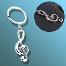 Music Note Pendant Keyring Treble Clef Metal Keychain Violin Guitar Keyfob Gift