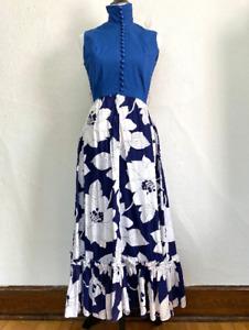 Vintage 1970s Blue Floral Maxi Hostess Dress Evelyn Pearson Boho Festival
