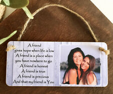 6x3'' Personalised Gift Photo & Text Plaque Birthday Christmas Friendship