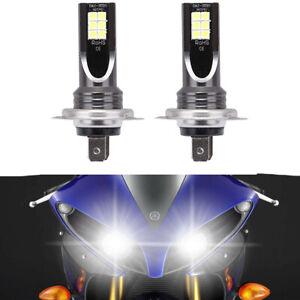 2X H7 Super Bright White LED Bulbs Headlight Kit For Yamaha YZF R1 R3 2007-2018