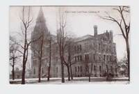 ANTIQUE POSTCARD ILLINOIS GALESBURG KNOX COUNTY COURT HOUSE EXTERIOR BLACK AND W