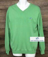 Southern Tide Men's Light Green Cotton Long Sleeve V-Neck Pullover Sweater M