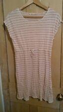 White Stuff Linen Mix Dress Tunic Pink Stripe Size 12