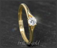 Diamant 585 Gold Solitär Ring 0,28ct, River D, VS1-2; 14 Karat Damen Schmuck NEU