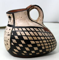 Terra Cotta Signed Art Pottery Vase Jug Pitcher Chile Geometric Vintage