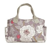 Grey Tote Handbag Bag Canvas Handles Gifts Floral Gift Modern Flowers Ladies New
