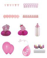 Babyshower baby shower decorations table fille rose Bapteme fete celebration new