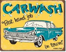 """16"""" X 12.5"""" TIN SIGN CAR WASH BEST HAND JOB IN TOWN METAL SIGN"""