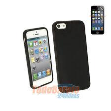 Funda tpu gel + protector para IPHONE 5 5G negra negro case cover skin