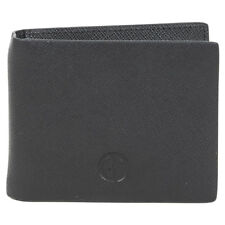 Giorgio Armani Men's Black Genuine Saffiano Leather Bi-Fold Money Clip Wallet