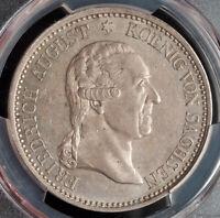 "1827, Saxony, Frederick Augustus I. Large Silver ""Death"" Thaler Coin. PCGS AU55!"