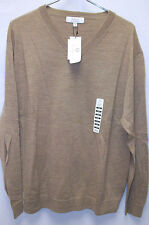 Turnbury Mens Small 100 Merino Wool Extra Knit Polo V-neck Sweater Camel Brown