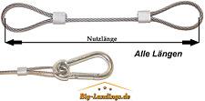 Drahtseil Stahlsein PVC ummantelt 4/6mm mit Karabinerhaken Schlaufen Öse