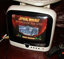 "Vintage 1990'S White MAGNAVOX 9"" CRT Color TV Working Retro Gaming"