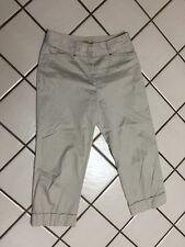 DALIA Beige Stretch Cotton  Cropped Cuffed Capri Pants _Sz 8