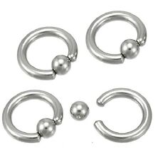 "Single Heavy 2g Gauge Captive Ring 5/8"" 16mm 8mm Ball Ear Lobe Septum Piercing"