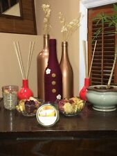 burgundy/white and gold handcrafted decorative wine bottle set