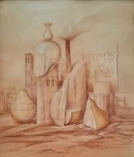 SAMUEL BAK (1933-), Pastel on Paper, Surreal Still Life, Signed, Nature Morte