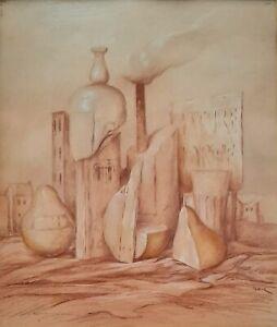 SAMUEL BAK (1933-), Pastel on Paper, Surreal Still Life, Signed, Nature Morte