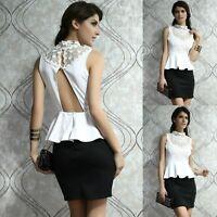 Sexy White Lace Black Peplum Sleeveless Dance Party Cocktail Dress New Sz 10 12