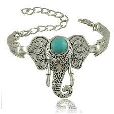 Ethnic Open Bangle Silver Cuff Bracelet Boho Faux Turquoise Elephant Jewelry UK