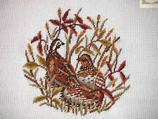"EP 3717 Vintage Preworked ""Quail"" Birds Nature Needlepoint Canvas"
