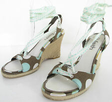 FAITH SIZE 5 WOMENS BROWN WHITE GREEN SPOTS ANKLE STRAPS LEG TIES WEDGES SHOES
