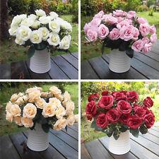 Artificial Rose Silk Flowers 12 Heads Leaf  Wedding Party Garden Decoration DIY