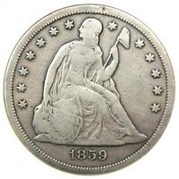 1859-S Seated Liberty Silver Dollar $1 Coin - ANACS F12 Details - Rare Date!